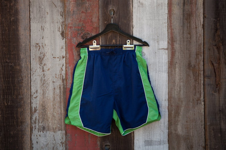 4cf472e2f Vintage Two Tone Strip Swim shorts Vintage Swimwear Green | Etsy