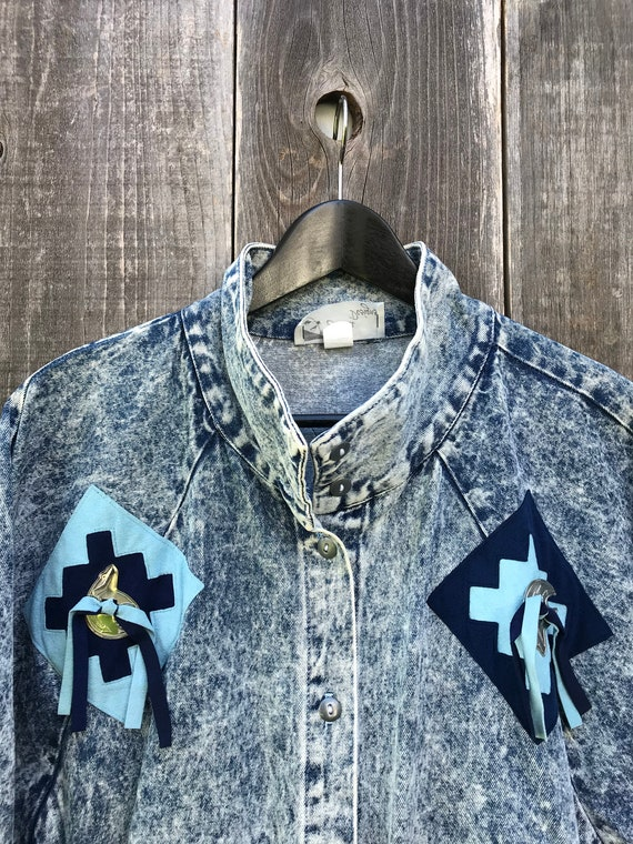 Vintage Acid Wash Denim Jacket | Awesome Retro 80… - image 8