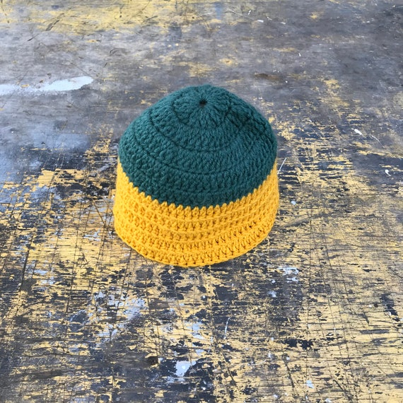 Vintage Mustard Yellow, Green Knitted Beanie | Hea