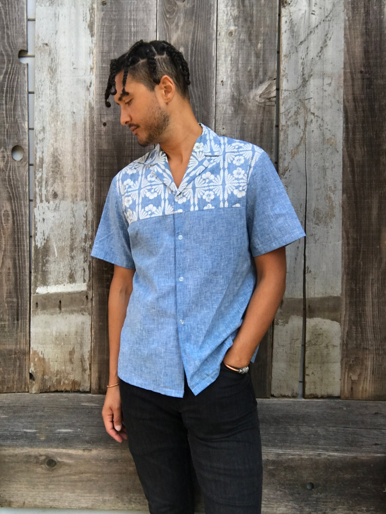 Handsome Vintage Mens Hawaiian Polo Shirt Vintage Hawaiian Etsy