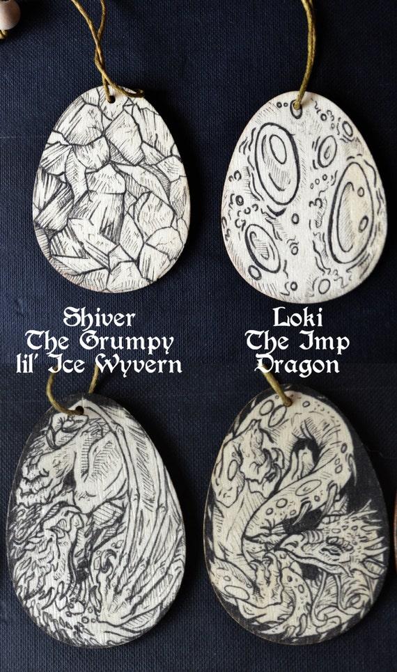 Dragon Egg original artwork ornaments, 4 5 x 6cm hanging double-sided ,  wooden art