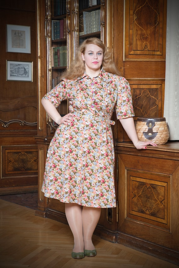 1940s Tea Dresses, Mature, Mrs. Long Sleeve Dresses Chelsa-war time dress in the style of the 40iger years plus size $176.76 AT vintagedancer.com