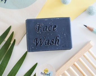 Charcoal Face Wash Bar - Naturally detoxifying 75g - vegan - plastic free, all natura,l handmade, palm free , lavender , tea tree
