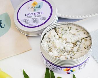 Lavender Body Scrub 200g - plastic free - Made in the UK - natural exfoliater