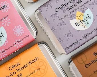 On The Go -  Citrus Zero Waste Travel Kit, Vegan ,Low Waste, Stocking Filler.Shampoo Bar, Conditioner Bar , Travel Tin, Wash kit,