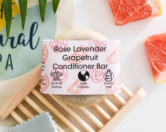 Rose, Grapefruit, Lavender , Solid Conditioner, Zero Waste, Hair conditioner, Mindfulness, Vegan Products, Plastic Free, Shampoo Bar, Hair,