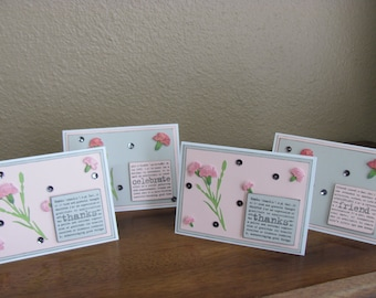 Set of Four Carnation All Occasion Greeting Cards