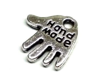"""Hand Shaped """"Handmade"""" Silver Tone Metal Tags/Charms to Show an Item is Handmade - Pack of Ten"""