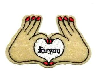 """Zwei Hände bilden ein Herz """"For you"""", Aufbügler, Hände Eisen auf Patch """","""" Hände Patch """","""" für Sie Patch """","""" Herz-Patch"""