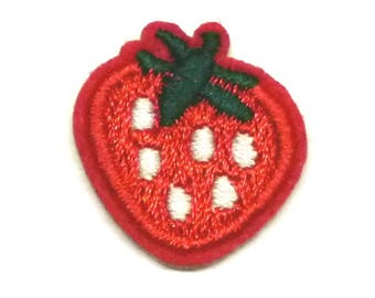 Strawberry Iron on Patch, Small Embroidered Strawberry Patch, Red Strawberry Patch