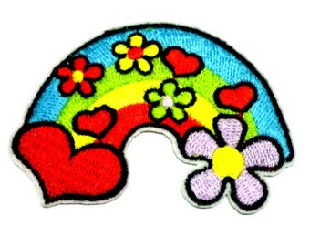 Hippy Rainbow Patch, Rainbow and Flowers Patch, Rainbow with Heart Iron on Patch, Hippy Patch, Rainbow Patches, 83mm Wide
