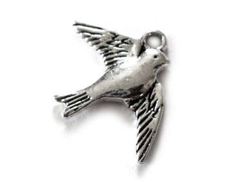 Swallow Charms, Flying Swallow Bird Charms, Silver Tone Metal Charms, Swallow Charm, Bird Charm - Pack of Ten