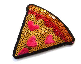 Sequin Pizza Patch, Pizza Slice with Pepperoni and Cheese Iron on Patch