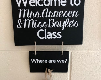 Classroom door with window Holiday Welcome Classroom Sign With Class Location Digitalspark Classroom Door Window Cover Etsy