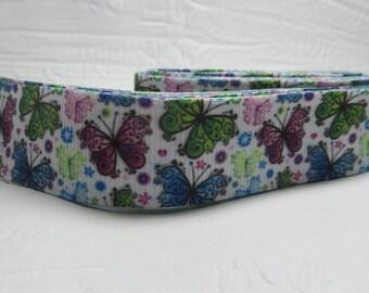 """Grosgrain ribbon 7/8"""" butterflies, flowers, green, blue, purple, on white sold by the yard"""