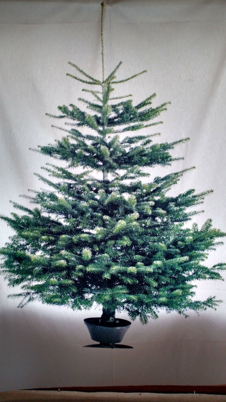 Tree Fabric Panel Christmas Cotton Custom Finished With Top Bottom Pockets Or Unfinished Curtain Table Cloth Wall Hanging
