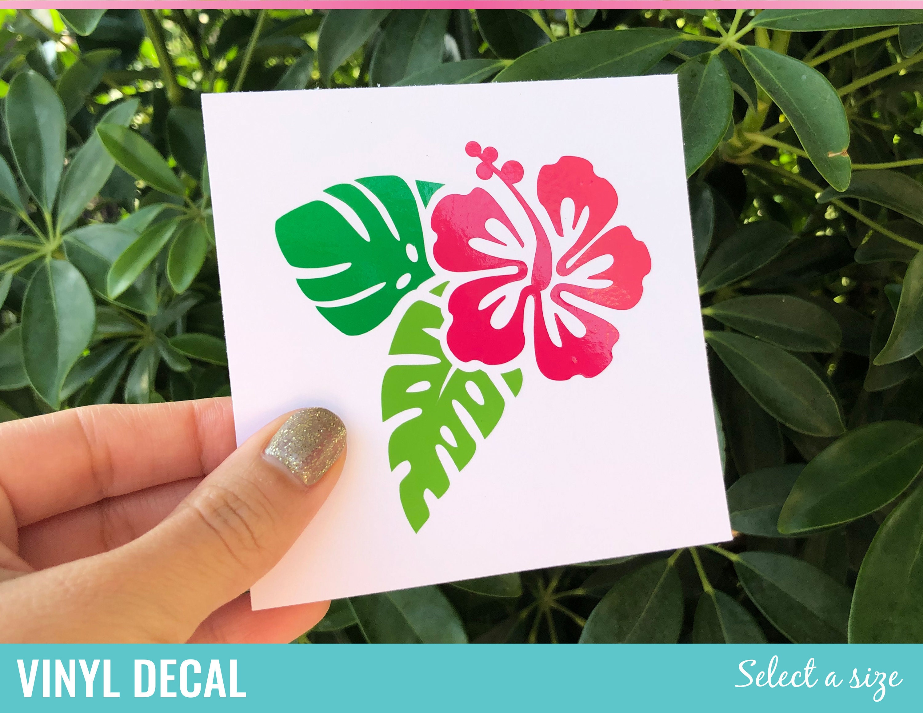 """HIBISCUS PRINTED VINYL DECAL 3.25/"""" X 5/"""" BLUE//WHITE $4.50   FREE SHIPPING"""