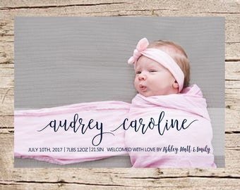 Birth Announcement, Baby Announcement, Name Birth Announcement, PRINTABLE, Photo Birth Announcement, Picture Birth Announcement