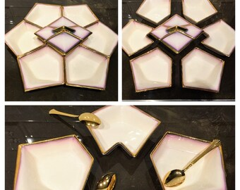 RARE Mid Century Modern Geometric Ivory, Amethyst and Gold Trim Bowls/Party Set