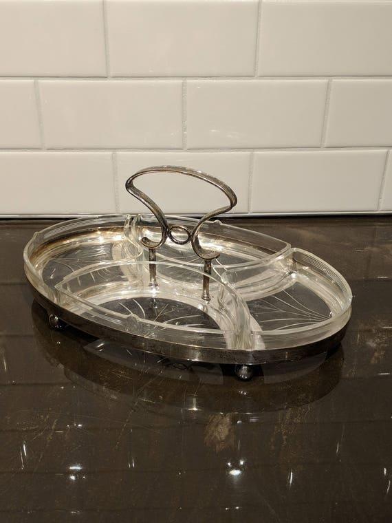 Silber und Glas Art Deco Snack Tablett, Servierplatte, Tapas, Aufstriche,  Dips, Party