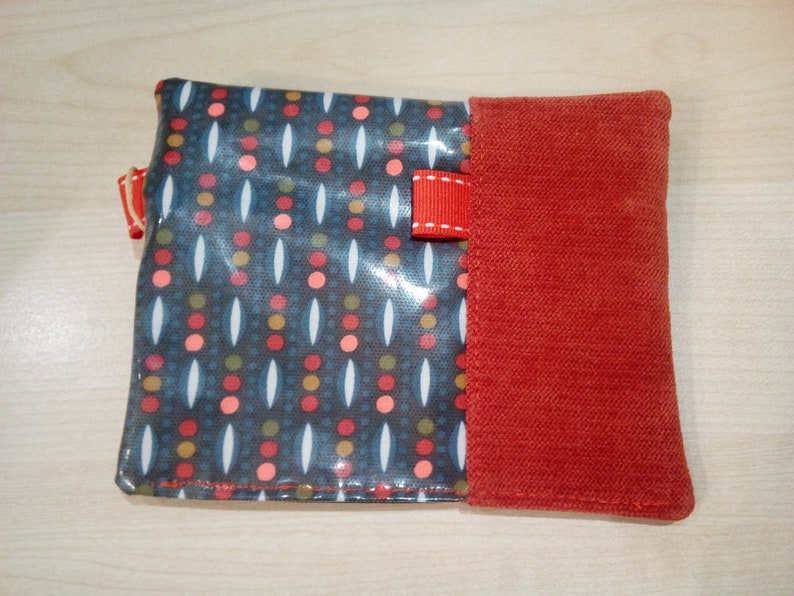 Coin purse blue  orange tone women/'s gift velvet fabric wallet and coated cotton fabric