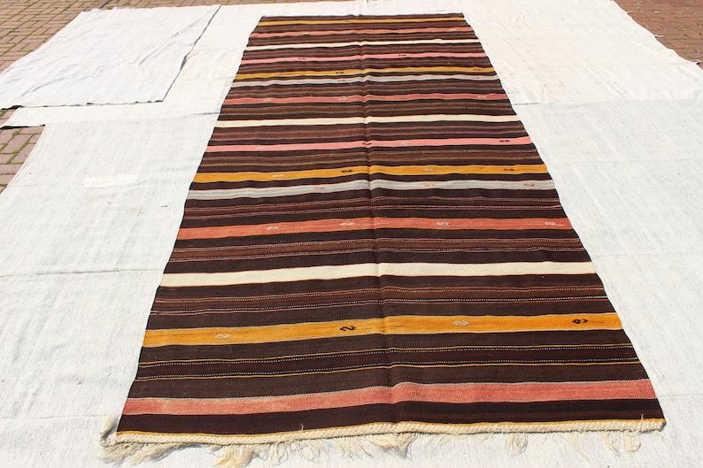 Rayure rose et marron Kilim tapis-grand Kilim turc tapis-Boho Kilim  tapis-tapis Kilim rayé noir-Boho tapis-Kilim tissé à la main