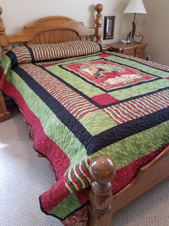 Quilt Holiday Horse Queen, Queen Size Holiday Bedding