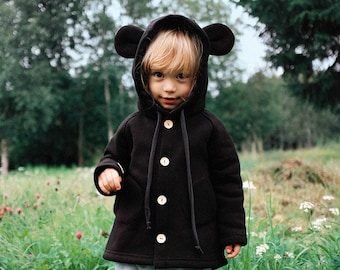Little Mouse Coat - Hooded kids coat with tiny ears and tail - wooden buttons, minimalist hipster style, eared coat, mouse costume, cotton