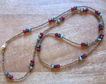 Iridescent necklace made of polished bohemian glass beads