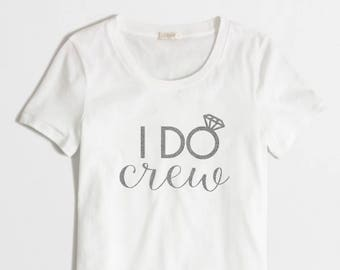 Iron-on I DO CREW Silver Glitter Decal // Bachelorette Party
