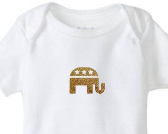 Future Republican Elephant Gold Glitter Baby Bodysuit
