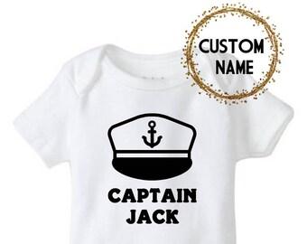 Personalized Captain Hat Baby Bodysuit