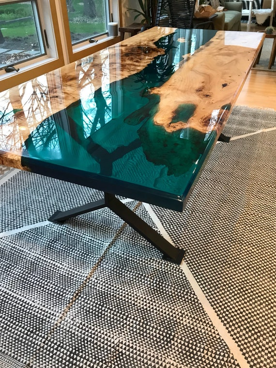Turquoise Resin River Dining Table Etsy