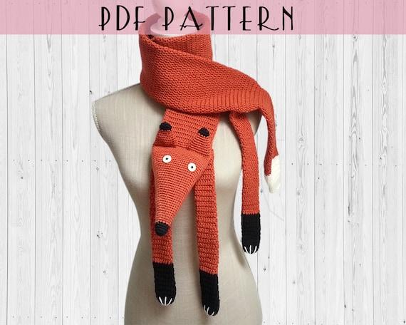 Crochet pattern scarf fox PDF english and french DIY gift   Etsy 9123e670bbc