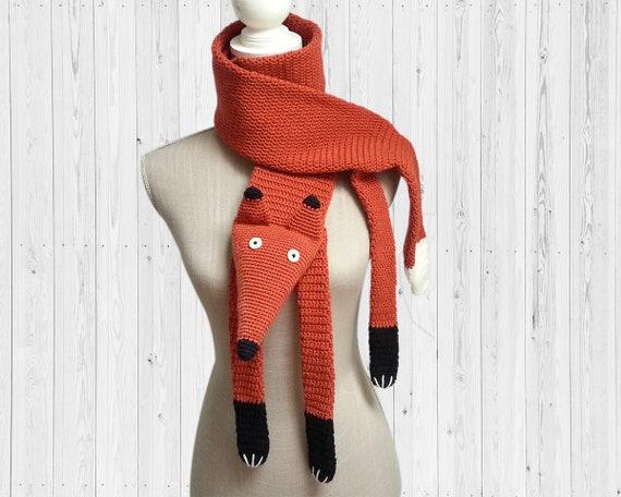 selezione speciale di bellissimo a colori marchio famoso Sciarpa all'uncinetto Fox   Fox ha rubato. sciarpa di lana spessa   Fake  tassidermia   Gancio arrugginito scialle   Grosso uncinetto sciarpa di volpe