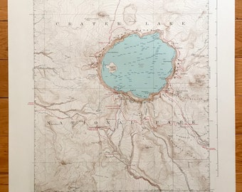 Crater Lake Topographic Map.Map Of Crater Lake Etsy