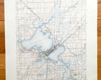 Antique Madison, Wisconsin 1904 US Geological Survey Topographic Map – Dane County, Elmside, Waunakee, Lake Mendota, Monona, Waubesa