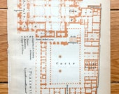 Antique 1904 Basilica Di San Marco e Palazzo Ducale, Venice, Italy Floor Plan from Baedekers Guide Veneto, Venice, Venezia, Doges Palace