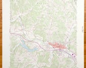 Antique Logan, Ohio 1992 US Geological Survey Topographic Map Falls, Marion, Enterprise, Green, West Logan, Monday Creek, Lake Logan