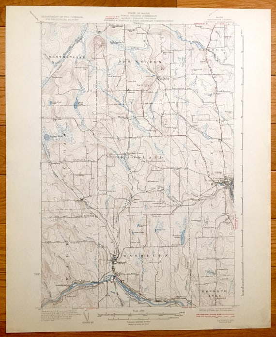 Antique Caribou Maine 1932 Us Geological Survey Topographic Etsy