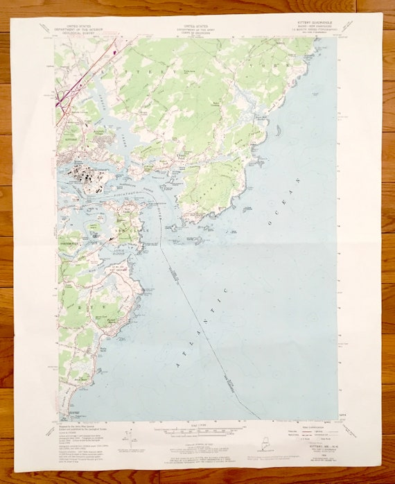 Antique Kittery, Maine 1956 US Geological Survey Topographic Map – York  County, Seabury, Rye, New Castle, Admiralty Village, Portsmouth, NH