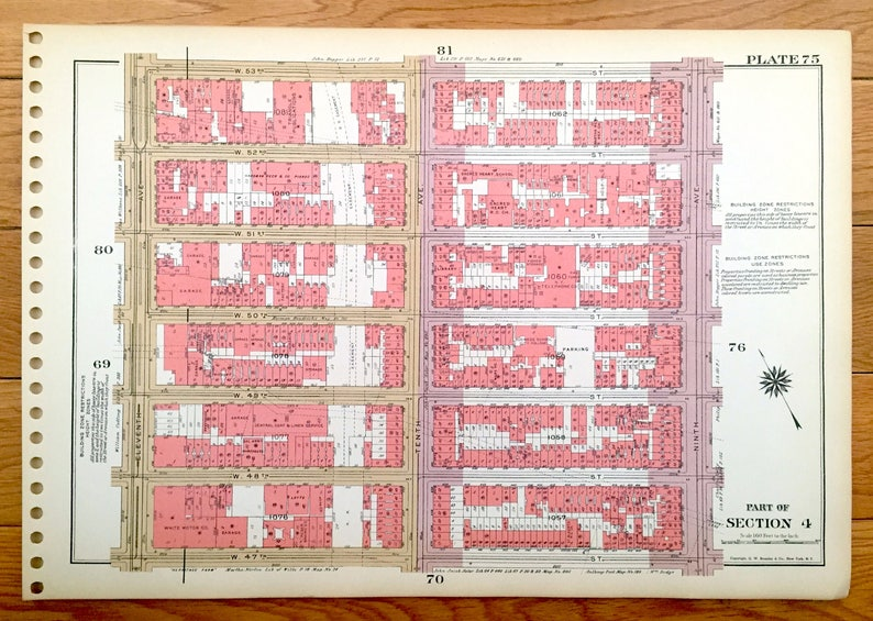 Hells Kitchen New York Map.Antique Manhattan New York Map From Bromley S 1955 Etsy