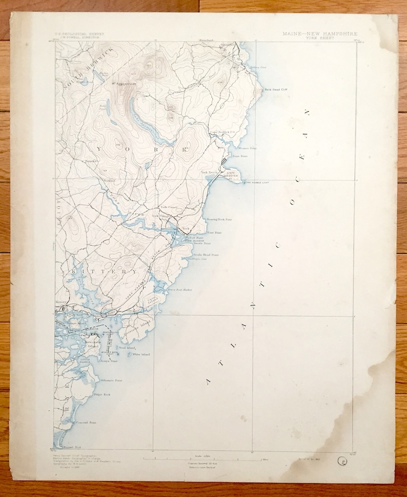 Antique York Maine 1893 Us Geological Survey Topographic Map Etsy