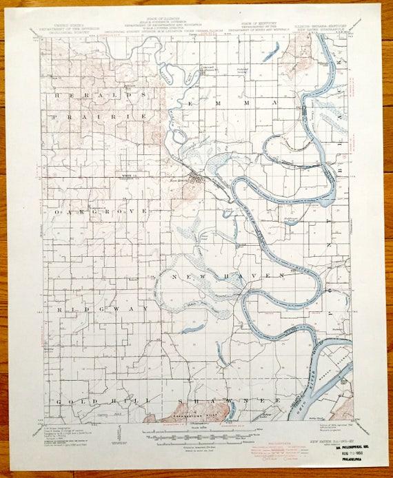 Antique New Haven Illinois 1906 Us Geological Survey Etsy