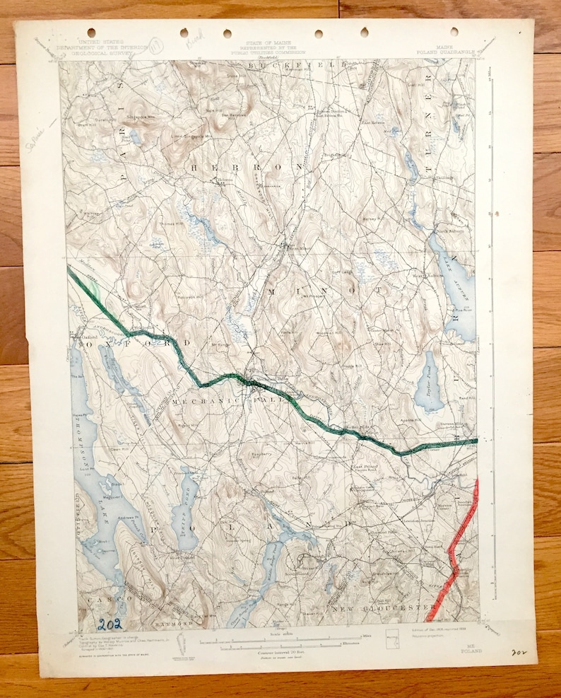 Antique Poland Maine 1908 Us Geological Survey Topographic Etsy