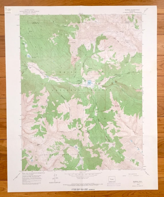 Antique Marble, Colorado 1960 US Geological Survey Topographic Map – White  River National Forest, Gunnison National Forest, Treasure Mtn