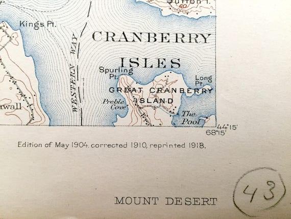 Bar Harbor MOUNT DESERT ISLAND Maine BAEDEKER 1904 old antique map chart