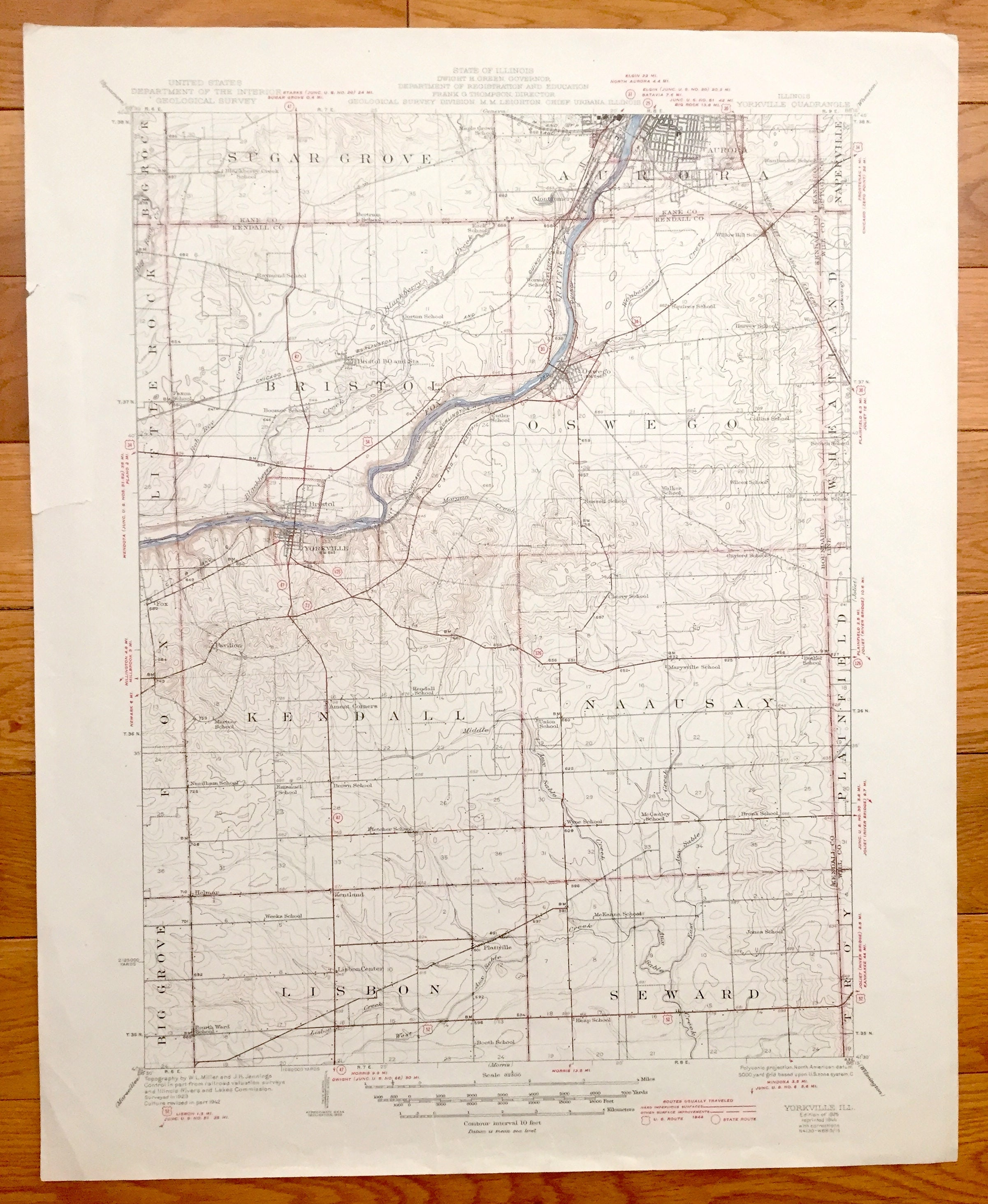 Bristol Illinois Map.Antique Yorkville Illinois 1925 Us Geological Survey Etsy
