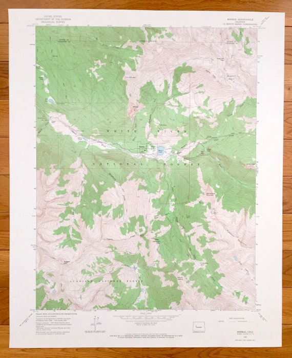 Antique Marble, Colorado 1960 US Geological Survey Topographic Map –  Pitkin, Gunnison County, White River Forest, Beaver Lake, Crystal River