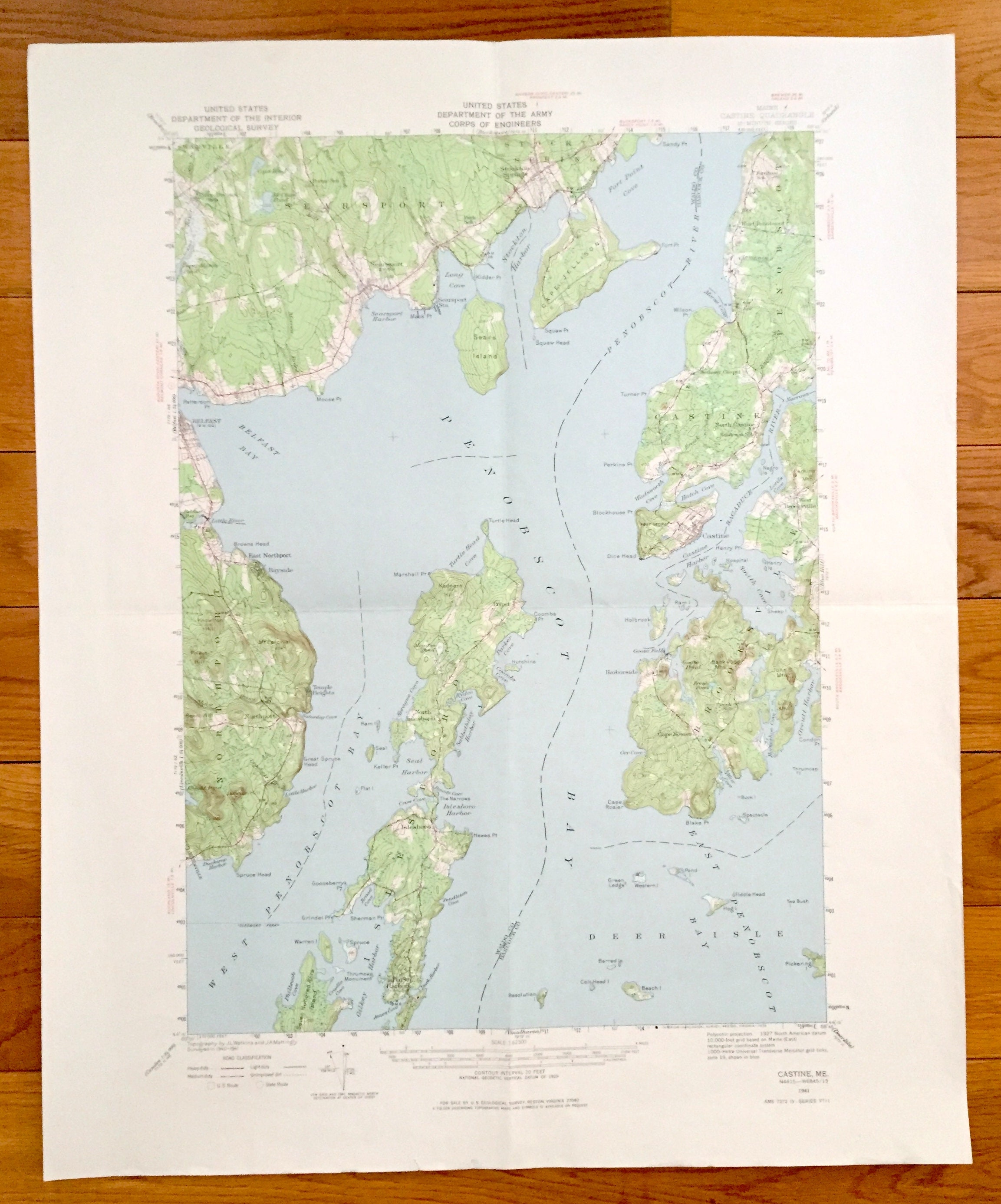 Antique Penobscot Bay Maine 1941 Us Geological Survey Etsy
